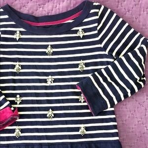 Joules navy and pink Jeweled sweater EUC